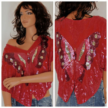 Silk beaded crop top, size S / M, sequined, butterfly, boho, gypsy, Indie