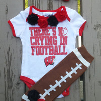 Wisconsin Badgers Football Baby Girl Outfit - Onesuit - Leg Warmers - Football - Badgers - WI