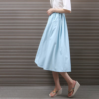 Mori Girl Pure Color Big Swing Skirt Summer Linen Midi Skirt For Women Casual Linen Bust Skirts