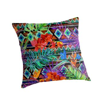 'BoHo Tropical Tribal Florals' Throw Pillow by SpiceTree
