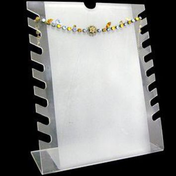 DS-034 Notched Bracelets/Necklaces Frosted Clear Display Stand