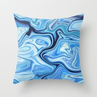 Marbled Frenzy Electric Blue Throw Pillow by Lisa Argyropoulos