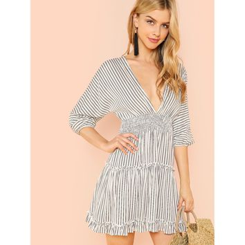 Deep V-Neck Ruffle Striped Dress