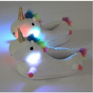 Led Light Plush Unicorn Slippers