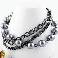 Sliver Pearl and Chain  Bracelet