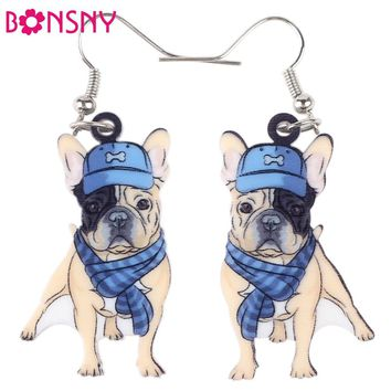 ADORABLE PUG W/ CLOTHS AND BASEBALL HAT EARRINGS GREAT FOR DOG LOVER, GIRLS OR WOMEN