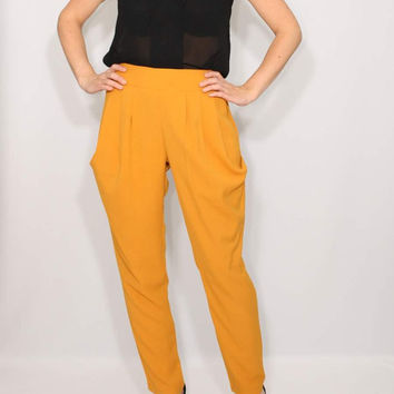 Mustard yellow pants Harem Pants Career Pants Office fashion