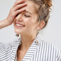 ASOS Metal Ball Drop Earrings at asos.com