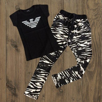 Armani Fashion Running Sport Gym Shirt Pants Set Two-Piece Sportswear