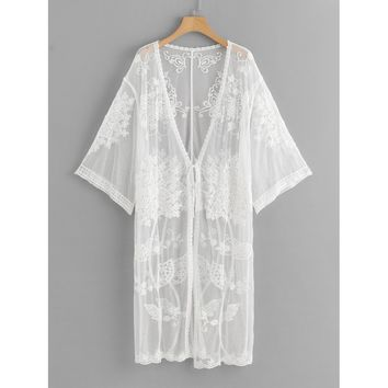 Lace Floral Embroidery Sheer Mesh Panel Kimono