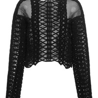 Jonathan Simkhai Longsleeve Tread Lace Top Black