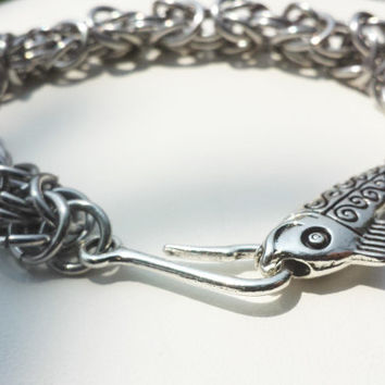 Fish Hook Bracelet Byzantine Chainmaille Handmade Fishing Silver