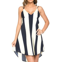 Striped Shift Dress - Navy