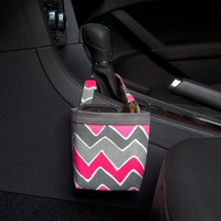 CAR CELLPHONE CADDY Chevron Pink and Gray Wavy, Car Phone Holder, iPhone Case, Sunglass Caddy, Beach Chair Caddy, Pool Chair Holder