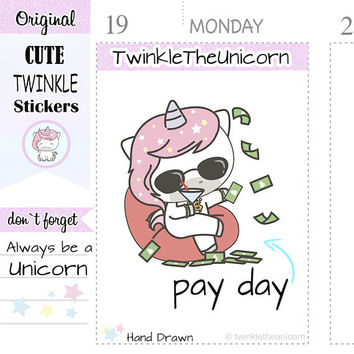 A091|  payday stickers, pay day planner stickers, pay bills stickers, money stickers, no spend stickers, save money, live planner, kawaii