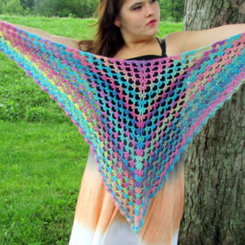 Crochet Triangle Shawl in Candied Rainbow Colors, Scallop Trim Women's Wrap, Summer Shawlette, Lightweight Triangle Scarf