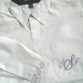 Monogram Oversized Shirt  with Custom Embroidery Pocket and Cuffs Brides Maid and Maid of Honor Wedding Party Gift