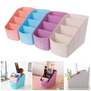 Plastic Desk Box Organizer 4 Slots Desktop Storage Case Holder Make Up Container ATH