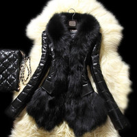 Popular Luxury Women's Faux Fur Coat Leather Outerwear Snowsuit Long Sleeve Jacket Black = 1695617284