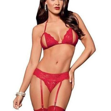 Escante EL-EBC2065 Peek a Boo Tri Top Bra, Garterbelt, Panty & Thigh Highs