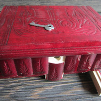 Budapest Carved Wooden Secret Puzzle Drawer Lock Box w Secret Compartment Cherry Red