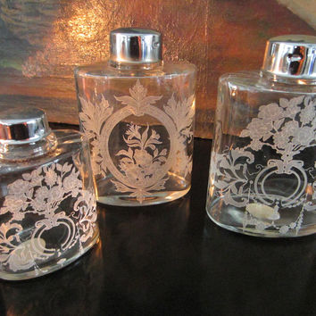 Set of Three Glass Bottles Made in Portugal By Jay Willfred For Andrea by Sadek
