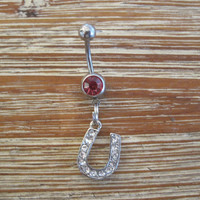 Belly Button Ring - Body Jewelry - Silver Rhinestone Horseshoe with Light Pink Gem Stone Belly Button Ring