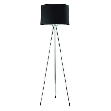 Metal Tripod Floor Lamp With Black Fabric Shade - Silver