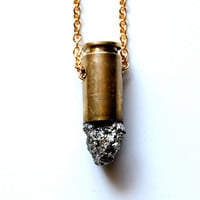 METEOR raw pyrite bullet crystal necklace with 14k gold plated chain