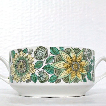 Vintage Soup Bowl Seventies Kitchenware Flower Design with Handles Castillian Collection Spain Pottery