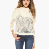 White Long Sleeve Knitted Top