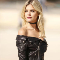 Off Shoulder Faux Leather Motorcycle Jacket