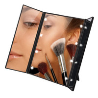 Tri-Fold Illuminated  LED Lighted Vanity Mirror Makeup Wide View Portable Travel Pocket Compact Led Mirror P30