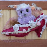 Owl Wall decor, Shabby Chic Owl art, Purple Shabby Chic Owl In A Shabby Chic Shoe!, Shabby Chic Owl Wall Hanging, Purple Owl decor