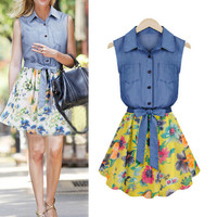 Summer Denim Chiffon Floral Print Pattern Dress Casual Dress