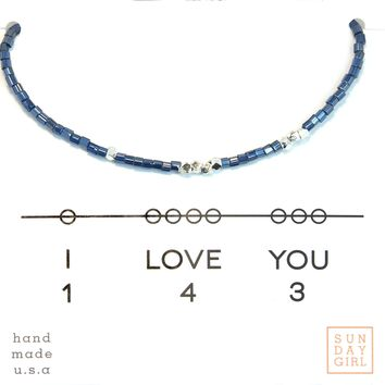 Friendship Bracelet - I Love You 143  - Blue Steele
