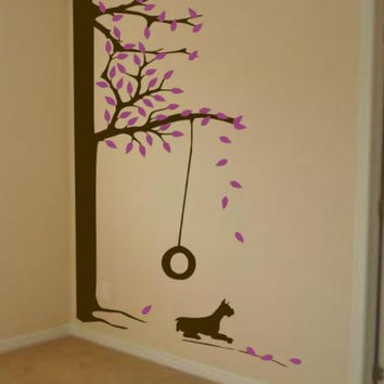 Huge Tree With Swing and Dog Wall Decal Sticker Mural Child Leaves Baby