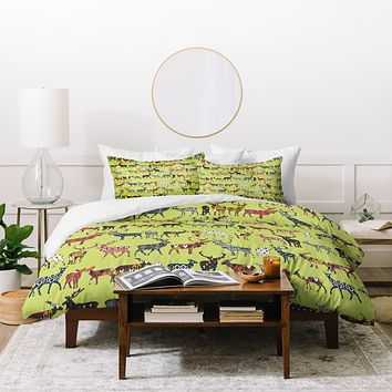 Sharon Turner Pistachio Spice Deer Duvet Cover