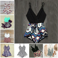 Summer Women Fashion Sexy Print Casual Set Short Playsuit  [9305694215]