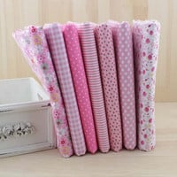 7 pcs/lot  50cmx50cm Pink 100% Cotton Fabric fat quarters for Sewing Tilda Doll Cloth DIY Quilting Patchwork Tissue Textile