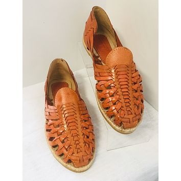Mexican Leather Sandals Orange