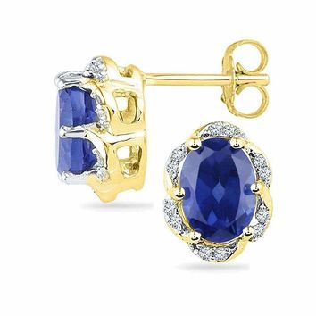 10kt Yellow Gold Women's Oval Lab-Created Blue Sapphire Solitaire Diamond Earrings 2-1-2 Cttw - FREE Shipping (US/CAN)