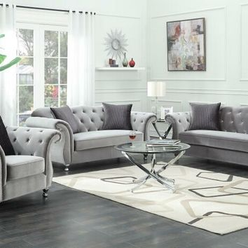 2 pc Francisco collection contemporary silver velvet fabric upholstered sofa and love seat with tufted accents