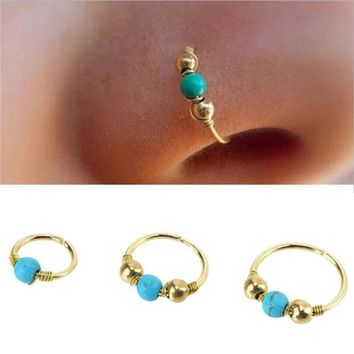LMF78W 1xStainless Steel Hand knitted Nose Ring Nostril Hoop Nose Earring Piercing Jewelry #30