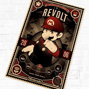 Super Mario Bros Vintage Video Games Propaganda Poster Retro Canvas Painting DIY Wall Stickers Art Home Bar Posters Decor Gift
