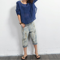 Summer 2016 New Women Jeans Literary Washed Cotton Linen Cropped Trouser Hole Loose Cross-pants Mid Wasit Seven Minutes Of Jeans