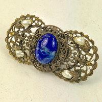 Czech Filigree Faux Lapis Brooch-Vintage-Blue Glass and Pearl -Vintage Brooch or Pin from Czechoslovakia