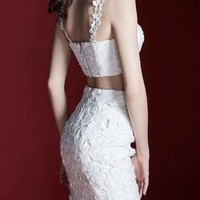 White Scallop Lace Bandage Skirt Set