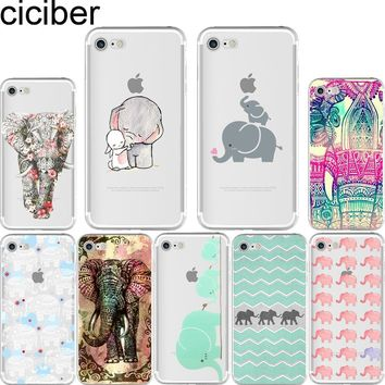 ciciber Tribal Tattoos Elephants Painted soft silicon phone cases cover for iPhone 6 6S 7 8 plus 5S SE X Capinha Coque Fundas