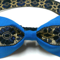"""Royal Blue and Gold Floral Dog Collar with Bow Tie 1"""""""